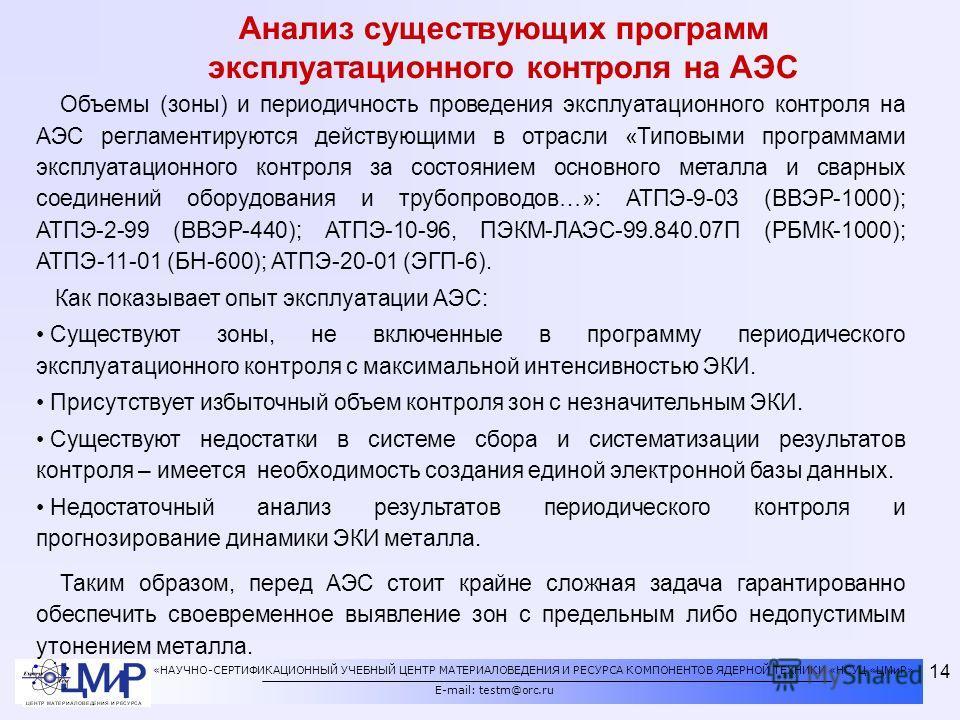 «НАУЧНО-СЕРТИФИКАЦИОННЫЙ УЧЕБНЫЙ ЦЕНТР МАТЕРИАЛОВЕДЕНИЯ И РЕСУРСА КОМПОНЕНТОВ ЯДЕРНОЙ ТЕХНИКИ «НСУЦ «ЦМиР» E-mail: testm@orc.ru 14 Анализ существующих программ эксплуатационного контроля на АЭС Объемы (зоны) и периодичность проведения эксплуатационно