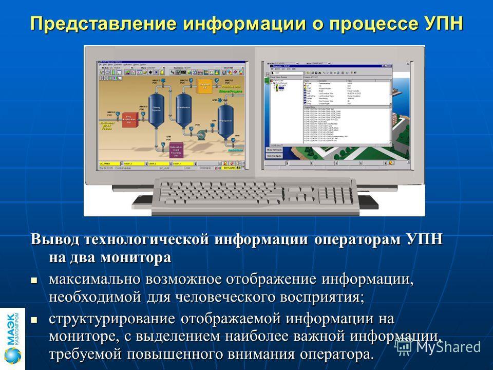 Представление информации о процессе УПН Вывод технологической информации операторам УПН на два монитора максимально возможное отображение информации, необходимой для человеческого восприятия; максимально возможное отображение информации, необходимой
