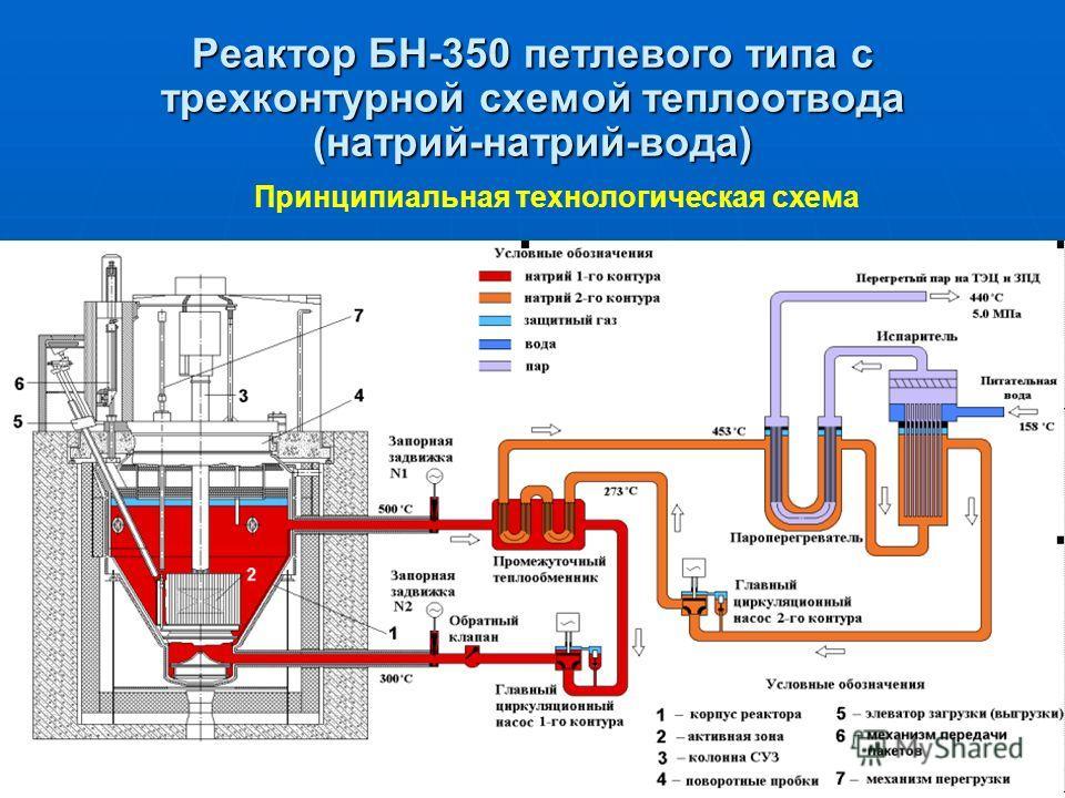 Реактор БН-350 петлевого типа с трехконтурной схемой теплоотвода (натрий-натрий-вода) Принципиальная технологическая схема