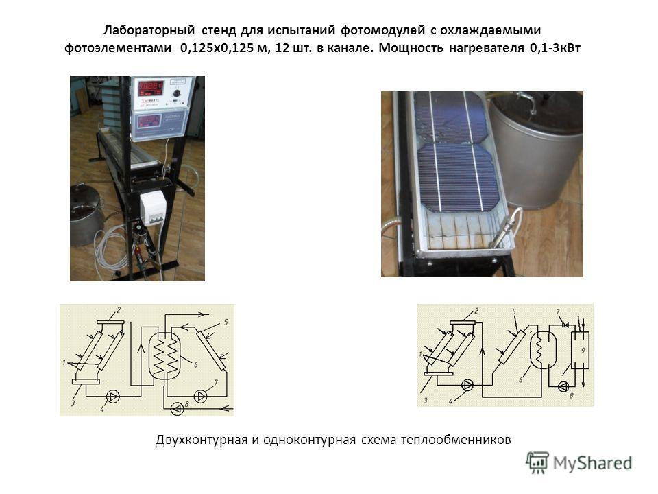 Лабораторный стенд для испытаний фотомодулей с охлаждаемыми фотоэлементами 0,125х0,125 м, 12 шт. в канале. Мощность нагревателя 0,1-3кВт Двухконтурная и одноконтурная схема теплообменников