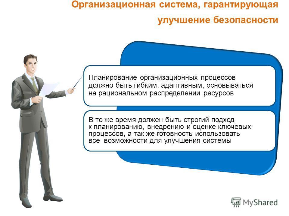 Организационная система, гарантирующая улучшение безопасности Планирование организационных процессов должно быть гибким, адаптивным, основываться на рациональном распределении ресурсов В то же время должен быть строгий подход к планированию, внедрени