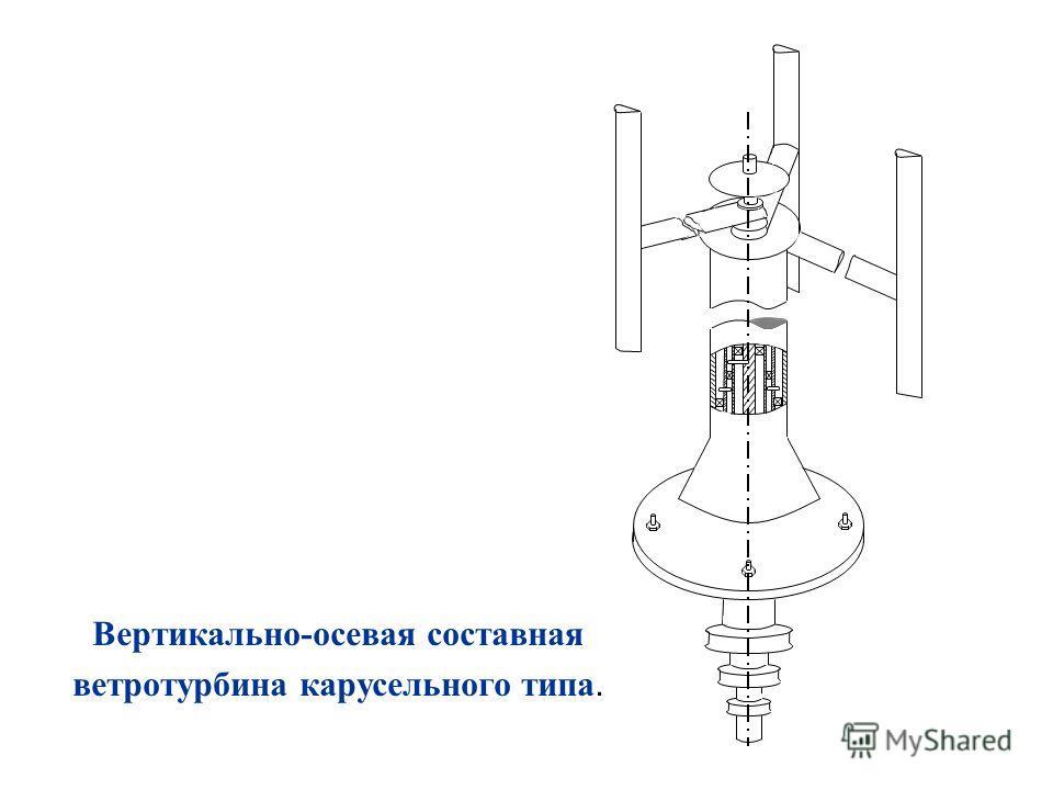 Вертикально-осевая составная ветротурбина карусельного типа.
