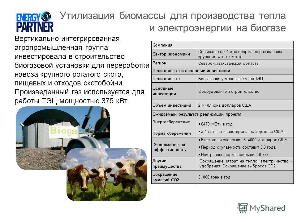Утилизация биомассы для производства тепла и электроэнергии на биогазе Вертикально интегрированная агропромышленная группа инвестировала в строительство биогазовой установки для переработки навоза крупного рогатого скота, пищевых и отходов скотобойни