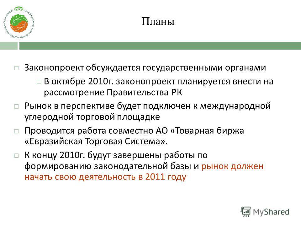 Планы Законопроект обсуждается государственными органами В октябре 2010г. законопроект планируется внести на рассмотрение Правительства РК Рынок в перспективе будет подключен к международной углеродной торговой площадке Проводится работа совместно АО