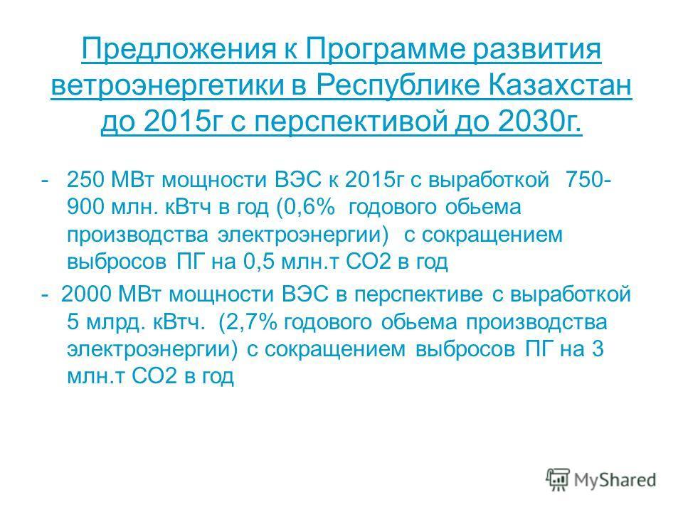 Предложения к Программе развития ветроэнергетики в Республике Казахстан до 2015г с перспективой до 2030г. -250 МВт мощности ВЭС к 2015г с выработкой 750- 900 млн. кВтч в год (0,6% годового обьема производства электроэнергии) с сокращением выбросов ПГ