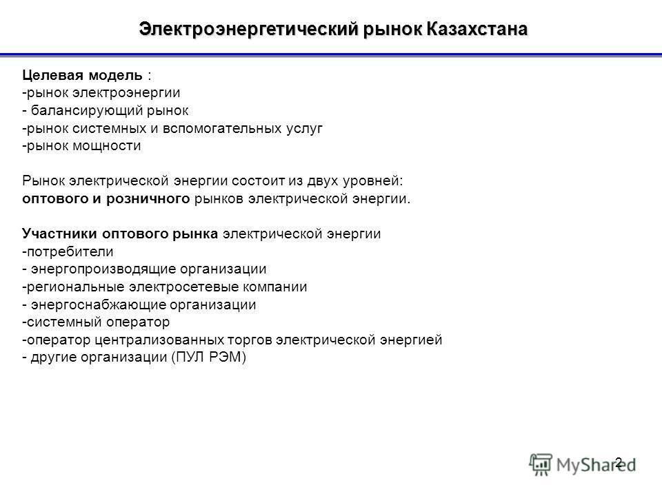 Электроэнергетический рынок Казахстана Электроэнергетический рынок Казахстана Целевая модель : -рынок электроэнергии - балансирующий рынок -рынок системных и вспомогательных услуг -рынок мощности Рынок электрической энергии состоит из двух уровней: о
