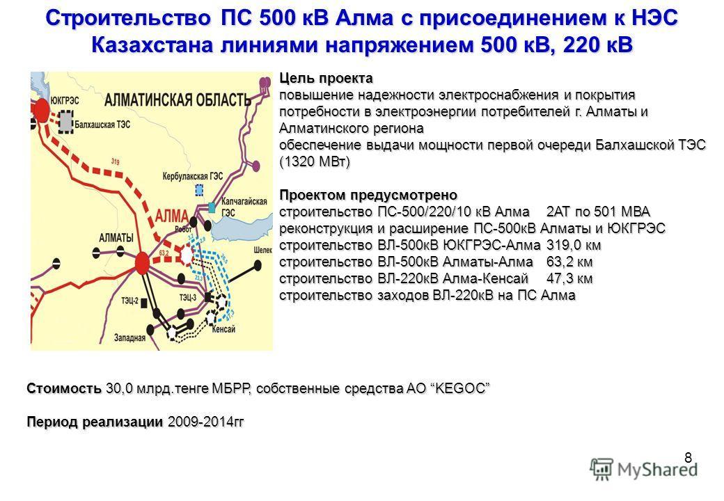 Вызовы перед АО «KEGOC» Вызовы перед АО «KEGOC» Уровень электропотребления Выдача мощности новых генерирующих мощностей Масштабная электрификация железной дороги Развитие возобновляемых источников энергии 7