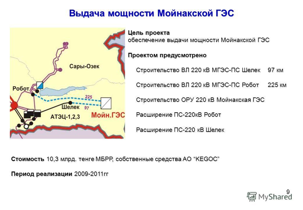 Строительство ПС 500 кВ Алма с присоединением к НЭС Казахстана линиями напряжением 500 кВ, 220 кВ Цель проекта повышение надежности электроснабжения и покрытия потребности в электроэнергии потребителей г. Алматы и Алматинского региона обеспечение выд
