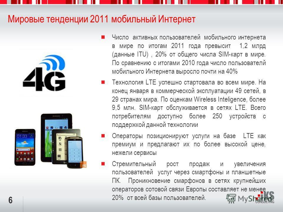 6 Мировые тенденции 2011 мобильный Интернет Число активных пользователей мобильного интернета в мире по итогам 2011 года превысит 1,2 млрд (данные ITU), 20% от общего числа SIM-карт в мире. По сравнению с итогами 2010 года число пользователй мобильно