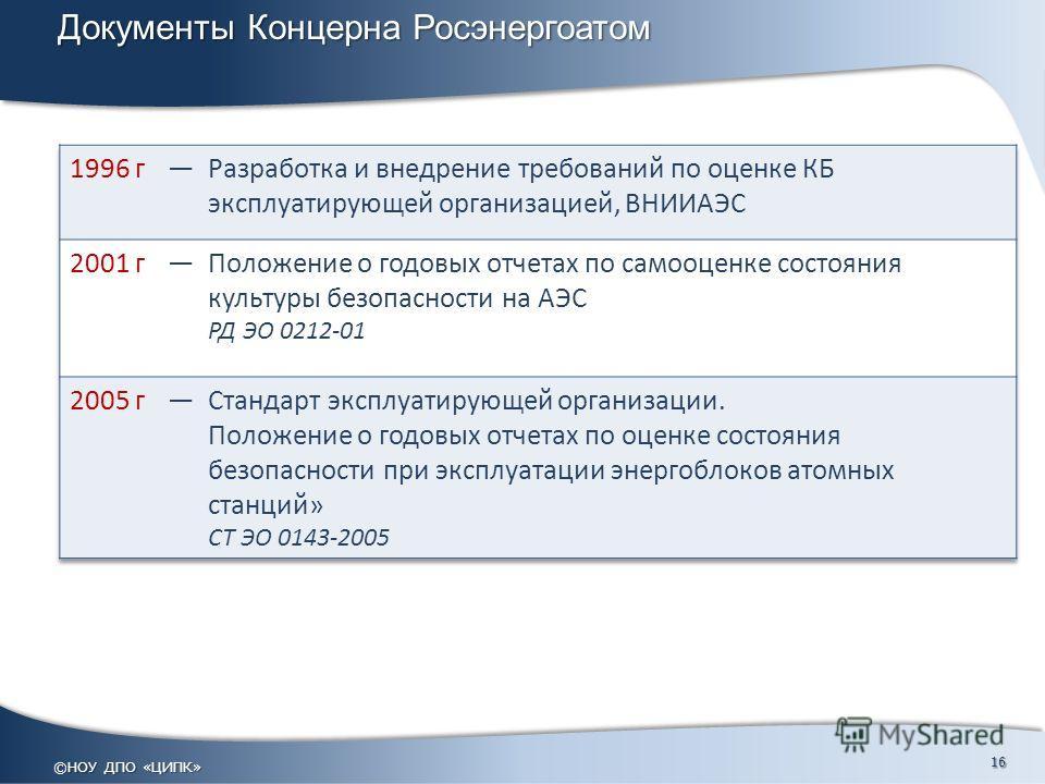 Документы Концерна Росэнергоатом ©НОУ ДПО «ЦИПК» 16