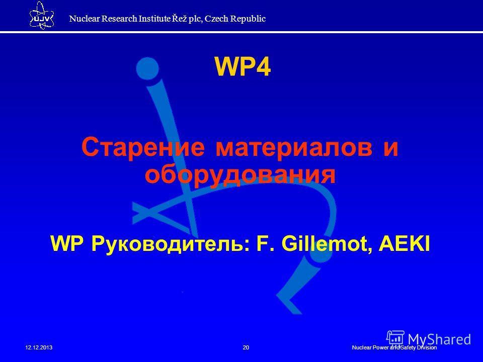 Nuclear Research Institute Řež plc, Czech Republic 12.12.2013Nuclear Power and Safety Division20 Старение материалов и оборудования WP Руководитель: F. Gillemot, AEKI WP4