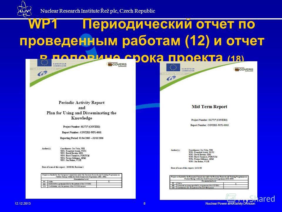 Nuclear Research Institute Řež plc, Czech Republic 12.12.2013Nuclear Power and Safety Division8 WP1 Периодический отчет по проведенным работам (12) и отчет в половине срока проекта (18)