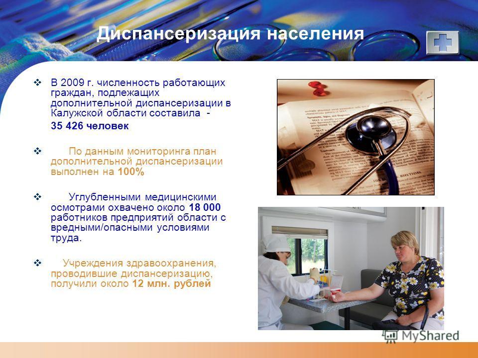 Диспансеризация населения В 2009 г. численность работающих граждан, подлежащих дополнительной диспансеризации в Калужской области составила - 35 426 человек По данным мониторинга план дополнительной диспансеризации выполнен на 100% Углубленными медиц