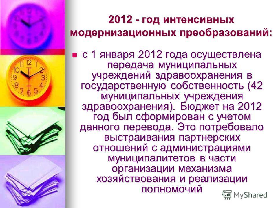 2012 - год интенсивных модернизационных преобразований: с 1 января 2012 года осуществлена передача муниципальных учреждений здравоохранения в государственную собственность (42 муниципальных учреждения здравоохранения). Бюджет на 2012 год был сформиро