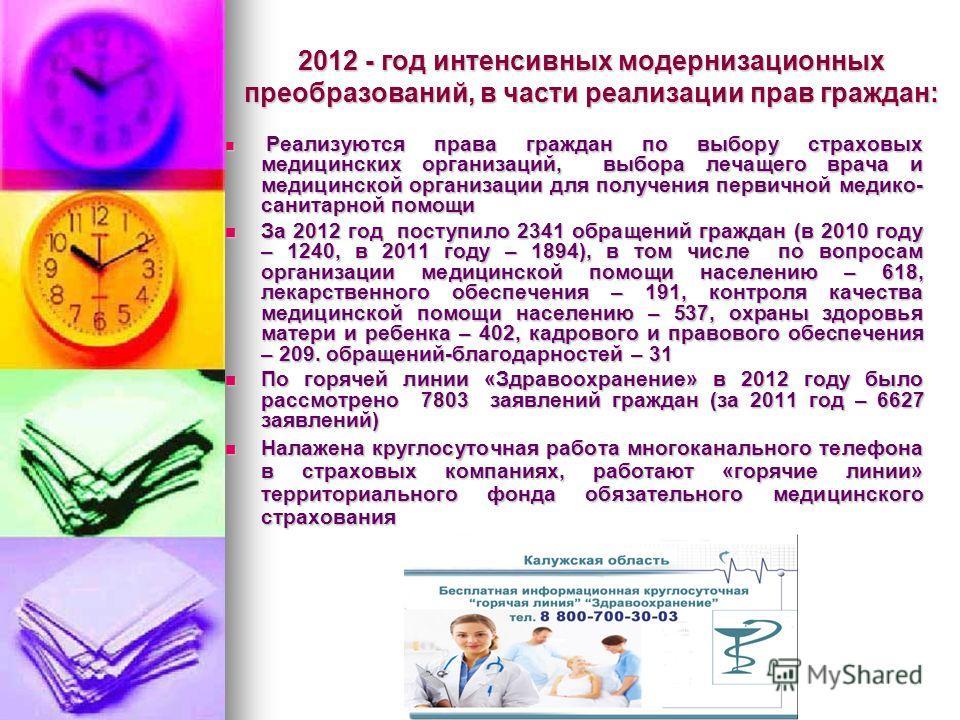 2012 - год интенсивных модернизационных преобразований, в части реализации прав граждан: Реализуются права граждан по выбору страховых медицинских организаций, выбора лечащего врача и медицинской организации для получения первичной медико- санитарной