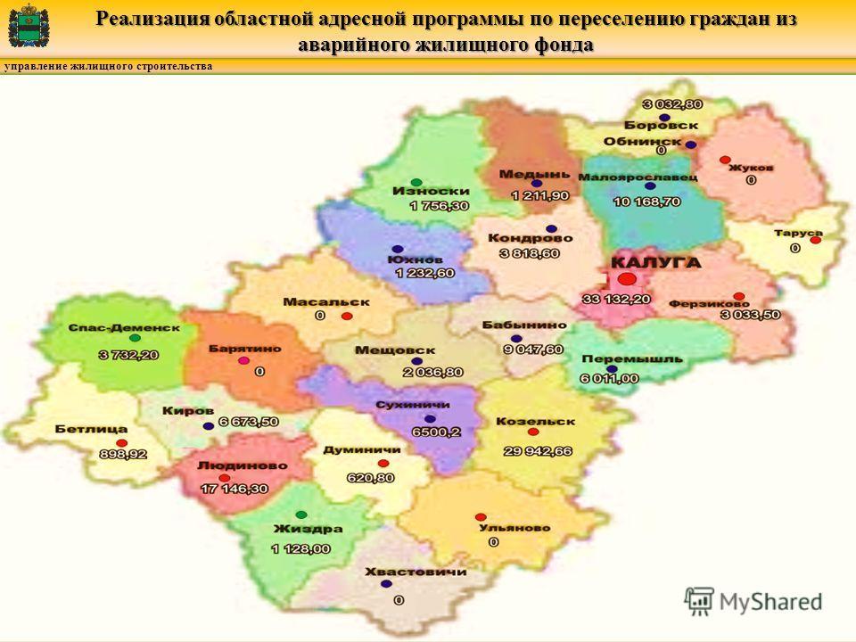 управление жилищного строительства Реализация областной адресной программы по переселению граждан из аварийного жилищного фонда