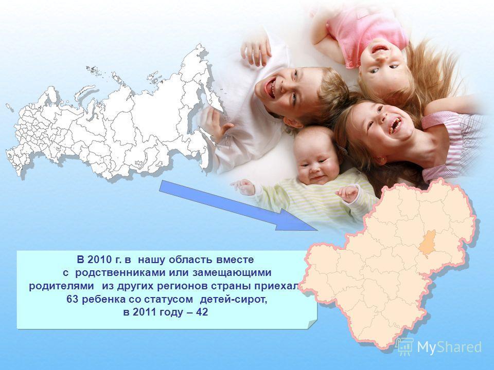 В 2010 г. в нашу область вместе с родственниками или замещающими родителями из других регионов страны приехали 63 ребенка со статусом детей-сирот, в 2011 году – 42