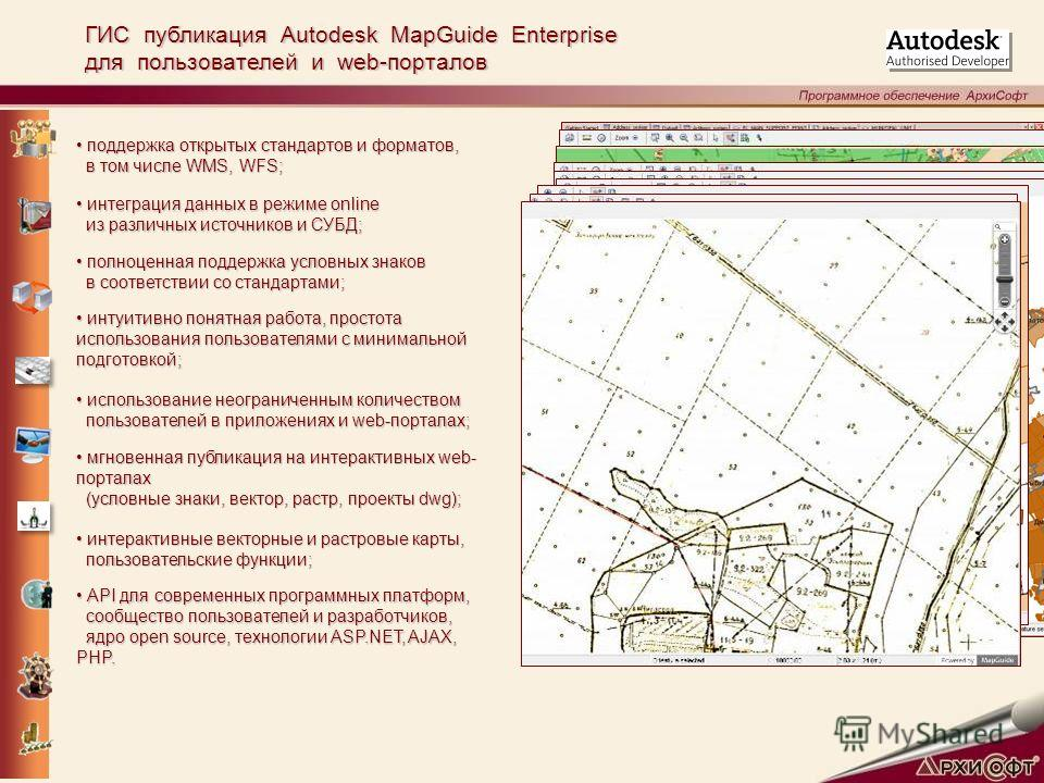 ГИС публикация Autodesk MapGuide Enterprise для пользователей и web-порталов поддержка открытых стандартов и форматов, поддержка открытых стандартов и форматов, в том числе WMS, WFS; в том числе WMS, WFS; интеграция данных в режиме online интеграция