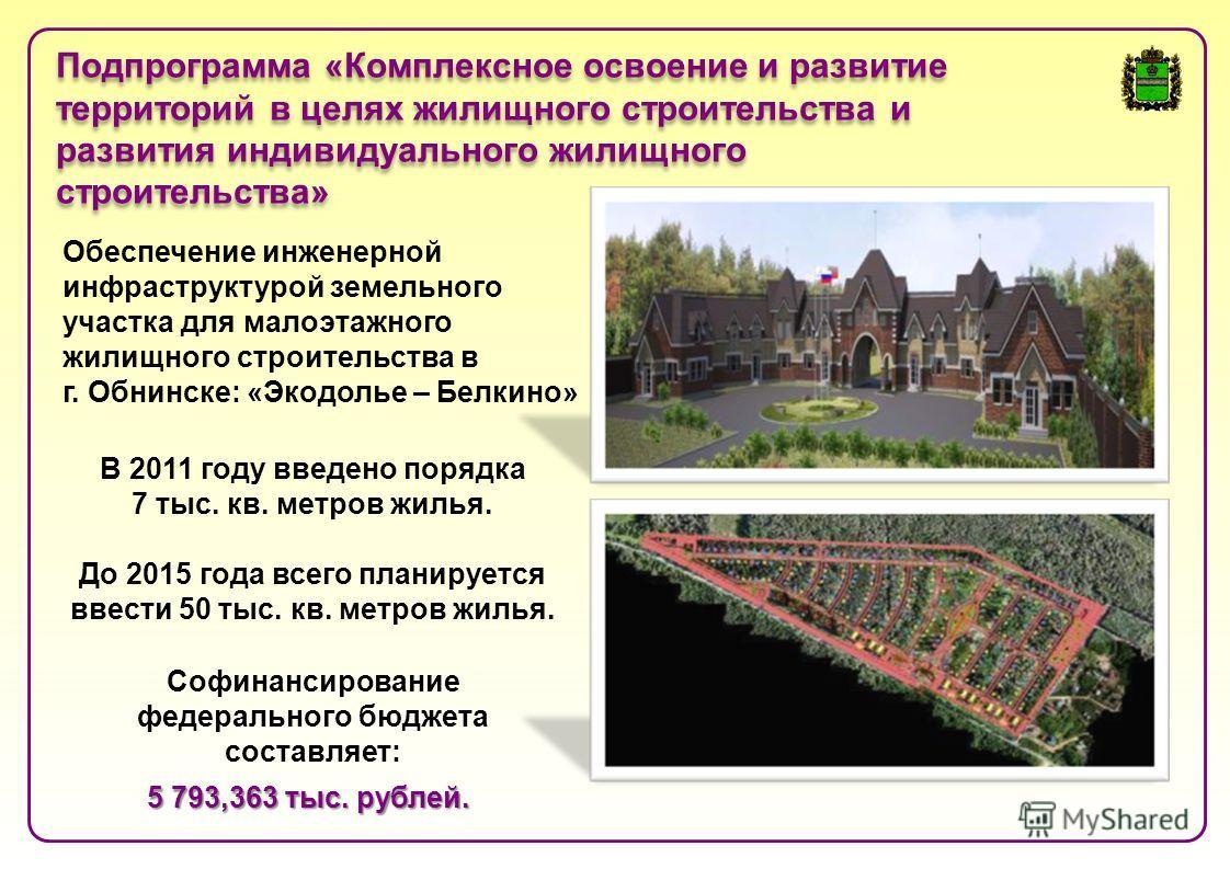 Обеспечение инженерной инфраструктурой земельного участка для малоэтажного жилищного строительства в г. Обнинске: «Экодолье – Белкино» Софинансирование федерального бюджета составляет: 5 793,363 тыс. рублей. Подпрограмма «Комплексное освоение и разви