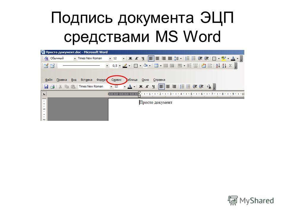 Подпись документа ЭЦП средствами MS Word