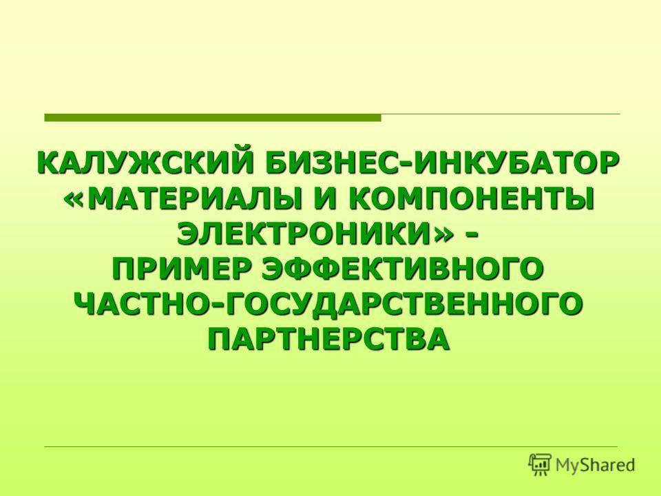 КАЛУЖСКИЙ БИЗНЕС-ИНКУБАТОР «МАТЕРИАЛЫ И КОМПОНЕНТЫ ЭЛЕКТРОНИКИ» - ПРИМЕР ЭФФЕКТИВНОГО ЧАСТНО-ГОСУДАРСТВЕННОГО ПАРТНЕРСТВА