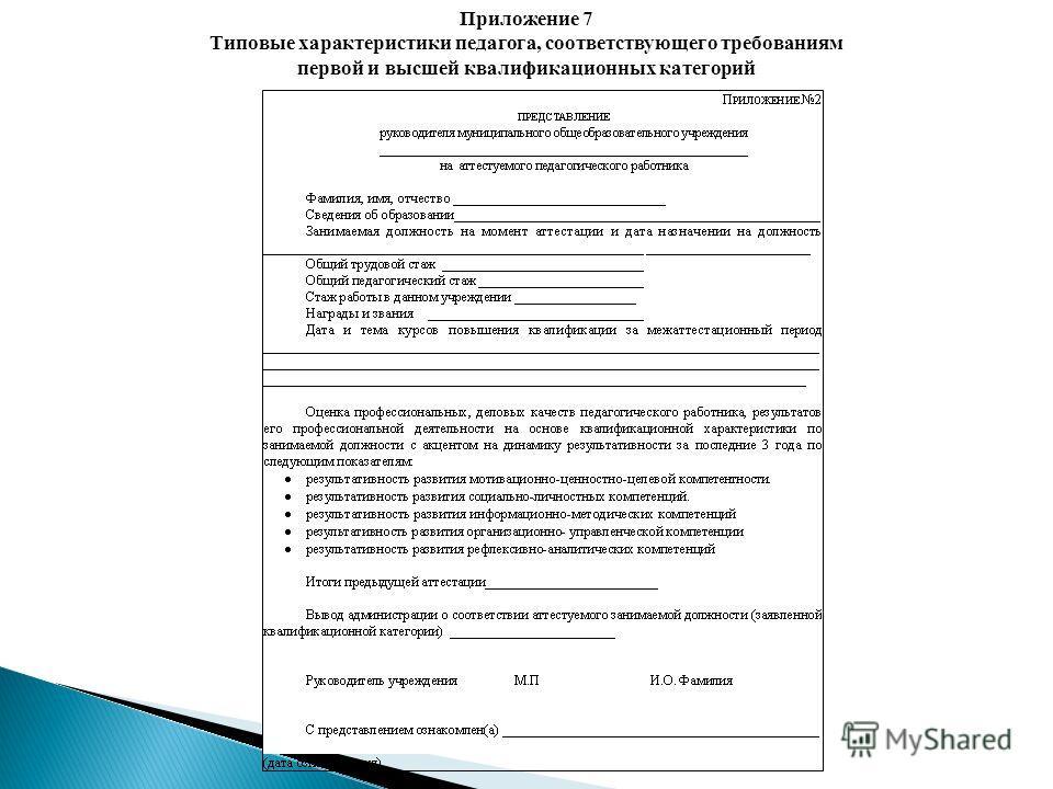 Приложение 7 Типовые характеристики педагога, соответствующего требованиям первой и высшей квалификационных категорий