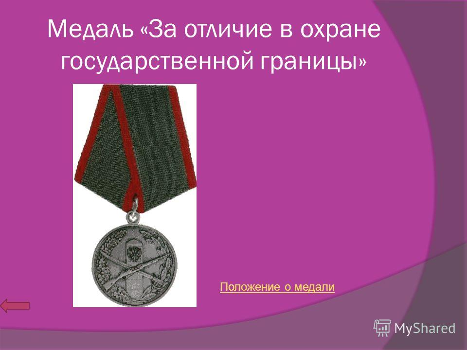 Медаль «За отличие в охране государственной границы» Положение о медали