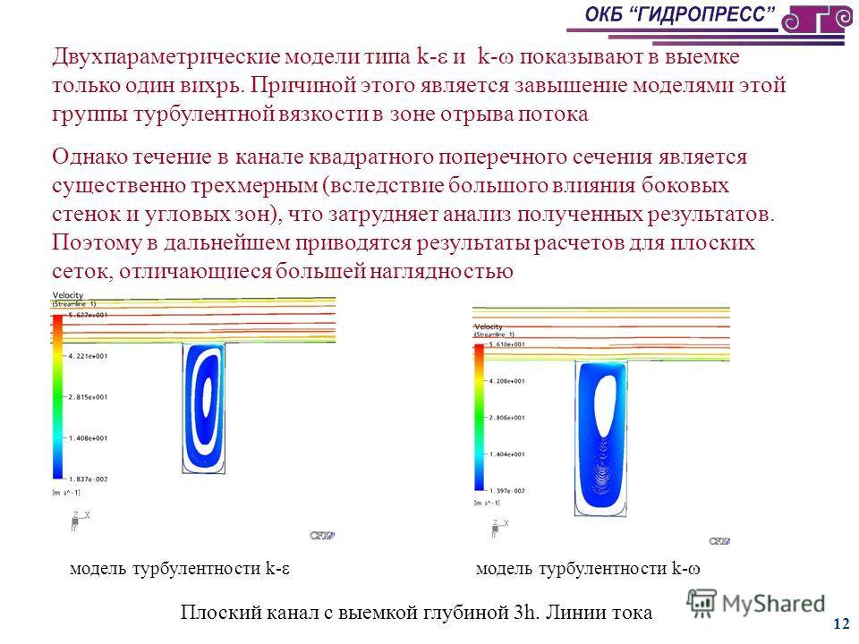 11 а) линии тока б) абсолютные значения векторов скоростей Канал с выемкой глубиной 3h. Модель турбулентности SSG-RS а) линии тока б) турбулентная вязкость Канал с выемкой глубиной 3h. Модель турбулентности - RS