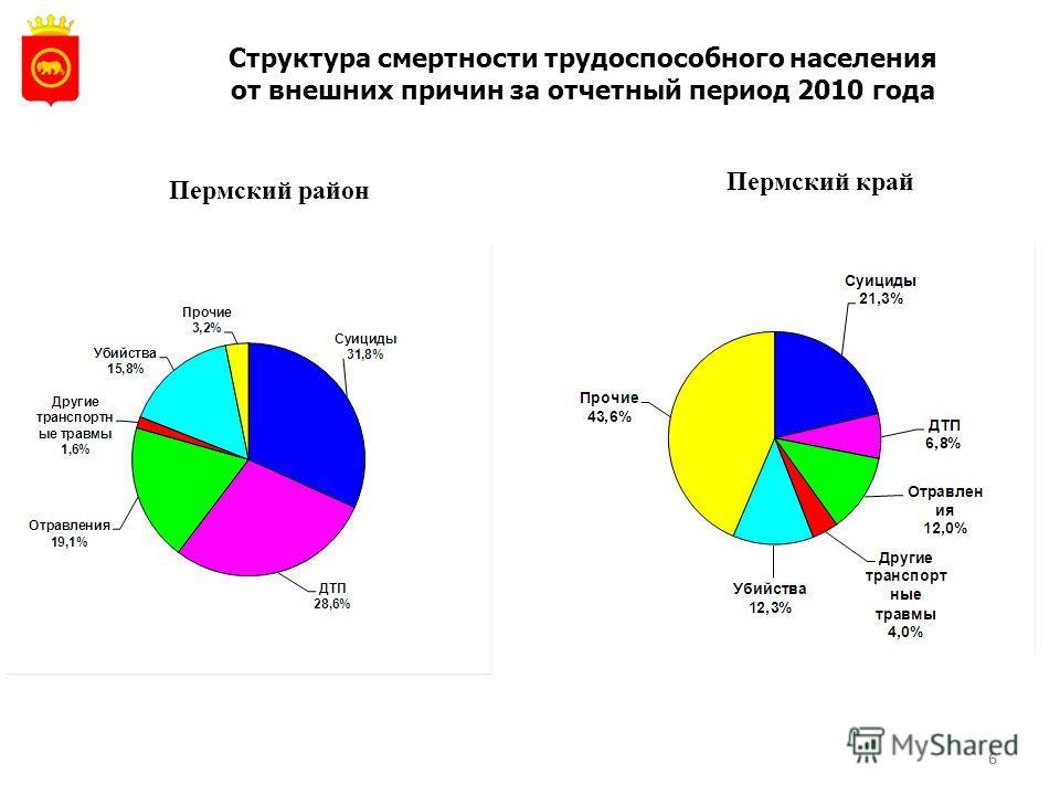 6 Структура смертности трудоспособного населения от внешних причин за отчетный период 2010 года Пермский район Пермский край 6