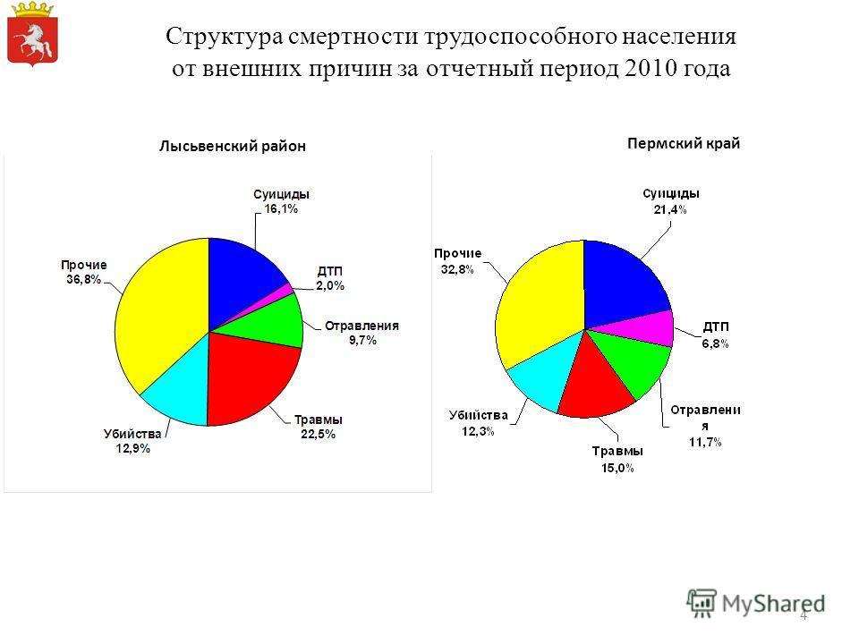 Структура смертности трудоспособного населения от внешних причин за отчетный период 2010 года Пермский край Лысьвенский район 4