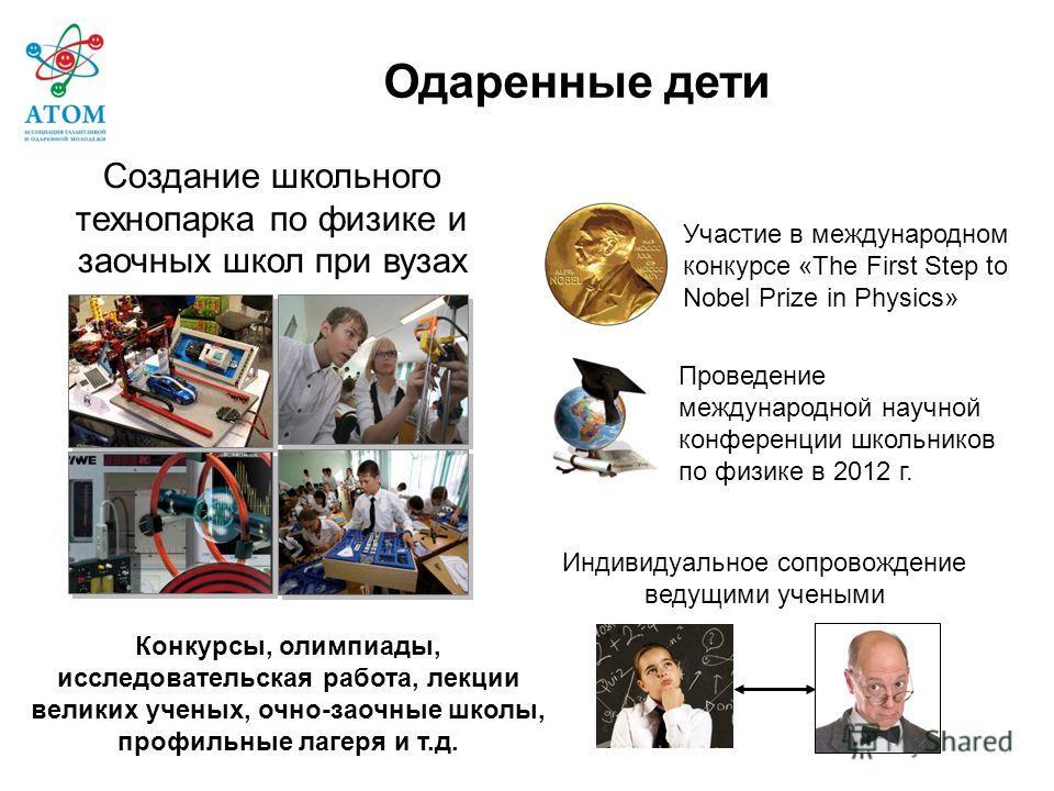 Участие в международном конкурсе «The First Step to Nobel Prize in Physics» Создание школьного технопарка по физике и заочных школ при вузах Индивидуальное сопровождение ведущими учеными Проведение международной научной конференции школьников по физи