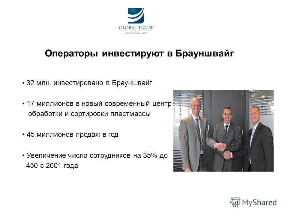 Операторы инвестируют в Брауншвaйг 32 млн. инвестировано в Брауншвaйг 17 миллионов в новый современный центр обработки и сортировки пластмассы 45 миллионов продаж в год Увеличение числа сотрудников на 35% до 450 с 2001 года