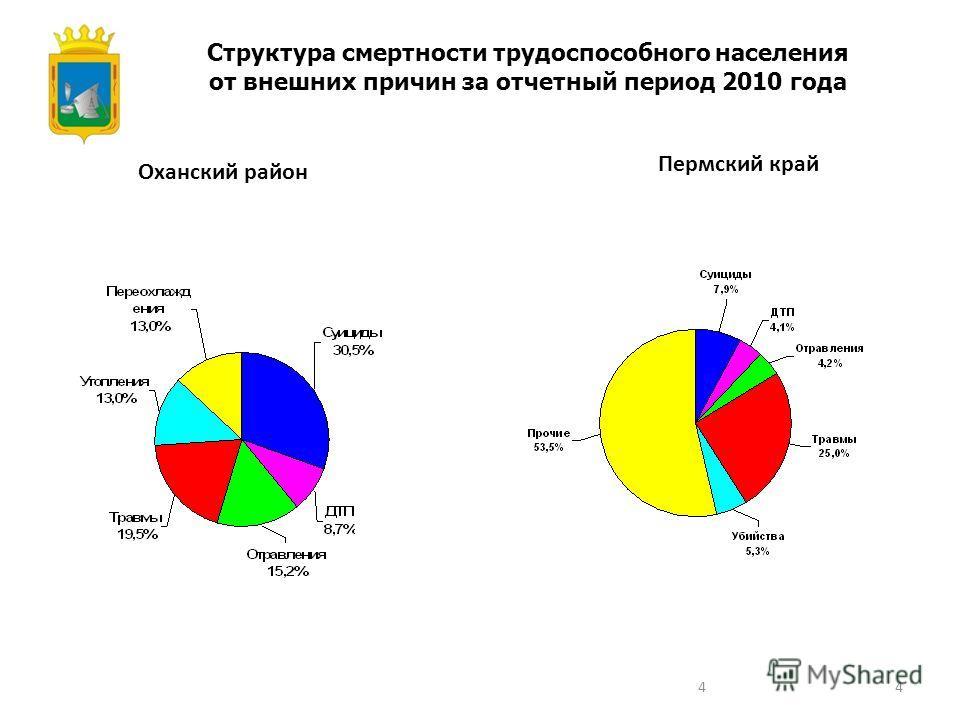 4 Структура смертности трудоспособного населения от внешних причин за отчетный период 2010 года Оханский район Пермский край 4