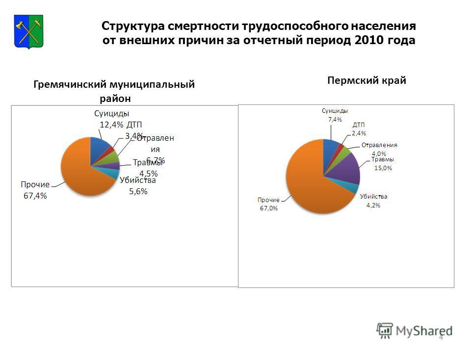 4 Структура смертности трудоспособного населения от внешних причин за отчетный период 2010 года Гремячинский муниципальный район Пермский край 4
