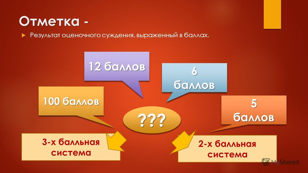 2-х балльная система 3-х балльная система Отметка - Результат оценочного суждения, выраженный в баллах. 100 баллов 12 баллов 6баллов6баллов 5баллов5баллов ??????
