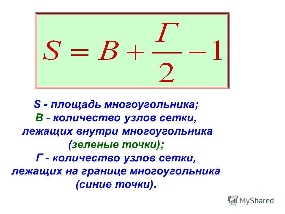 S - площадь многоугольника; В - количество узлов сетки, лежащих внутри многоугольника (зеленые точки); Г - количество узлов сетки, лежащих на границе многоугольника (синие точки).