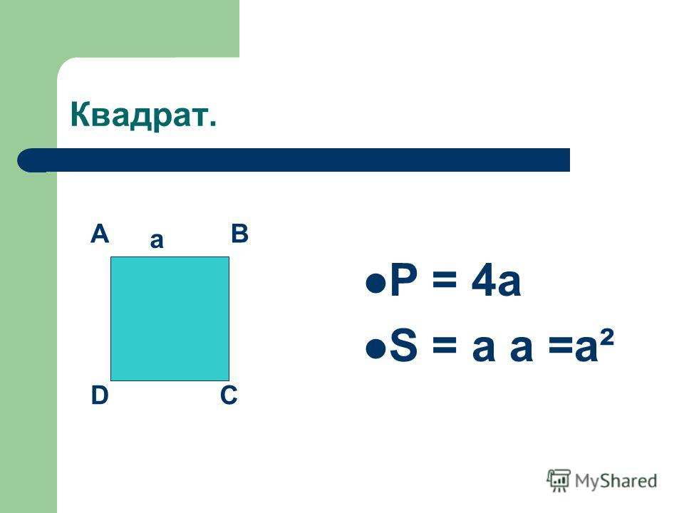 Квадрат. P = 4a S = a a =a² AB CD a