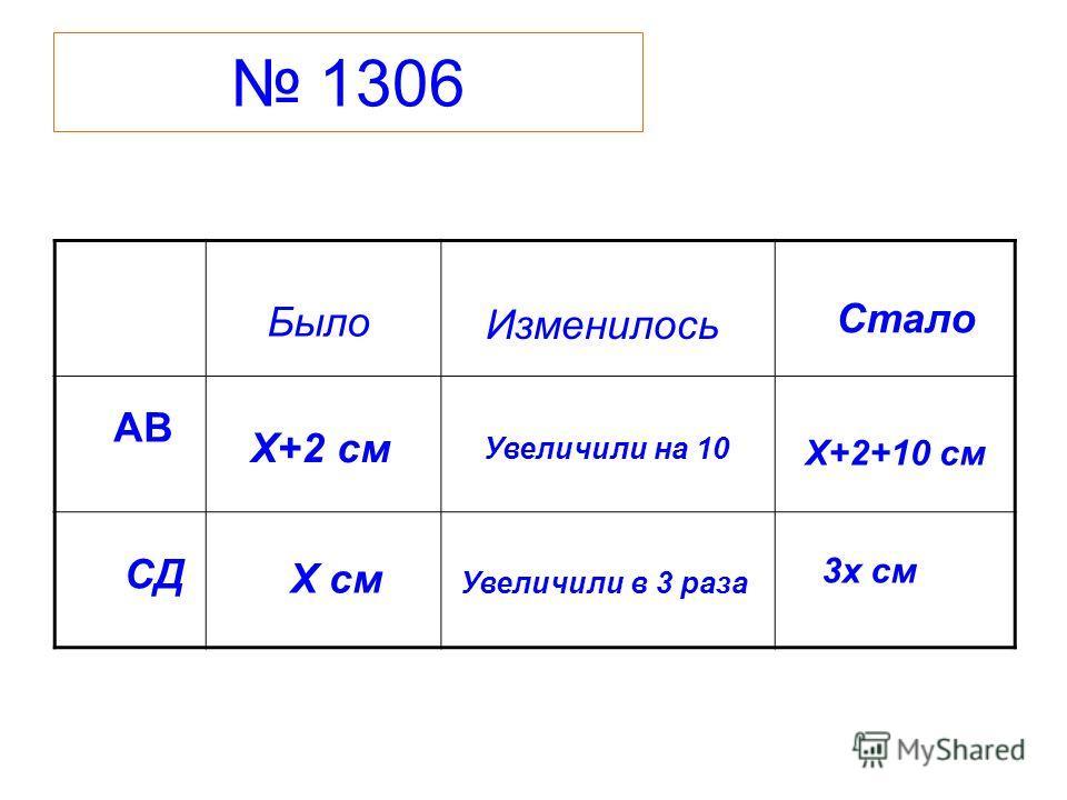 1306 АВ СД Было Изменилось Стало Х см Х+2 см Увеличили на 10 Увеличили в 3 раза Х+2+10 см 3х см
