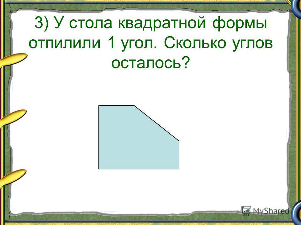 3) У стола квадратной формы отпилили 1 угол. Сколько углов осталось?
