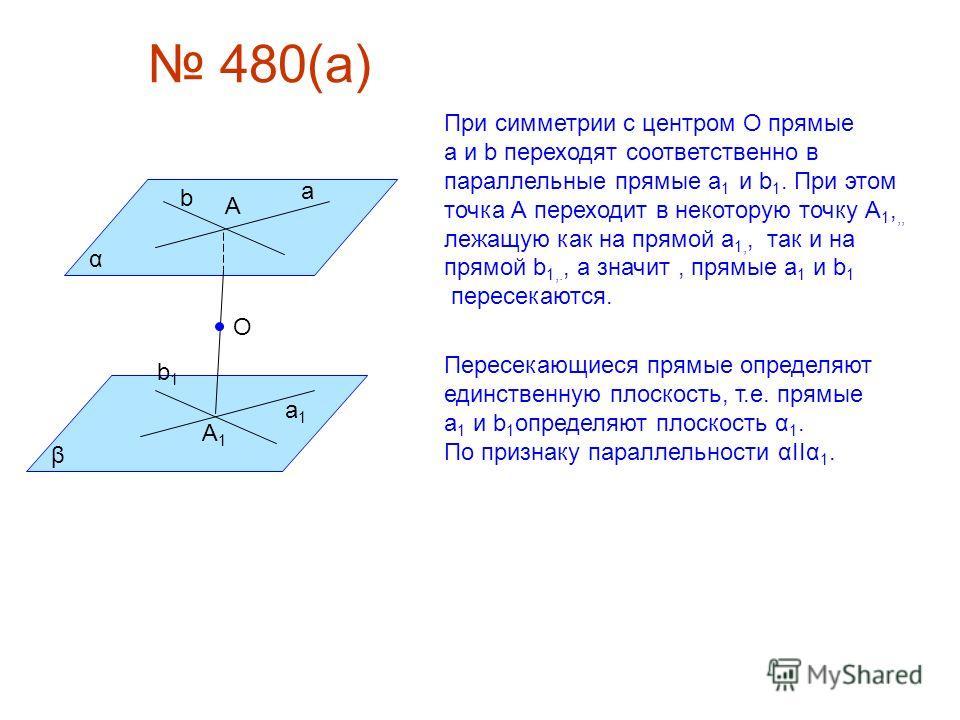 480(а) α β а b А а1а1 b1b1 А1А1 О При симметрии с центром О прямые а и b переходят соответственно в параллельные прямые а 1 и b 1. При этом точка А переходит в некоторую точку А 1,,, лежащую как на прямой а 1,, так и на прямой b 1,., а значит, прямые