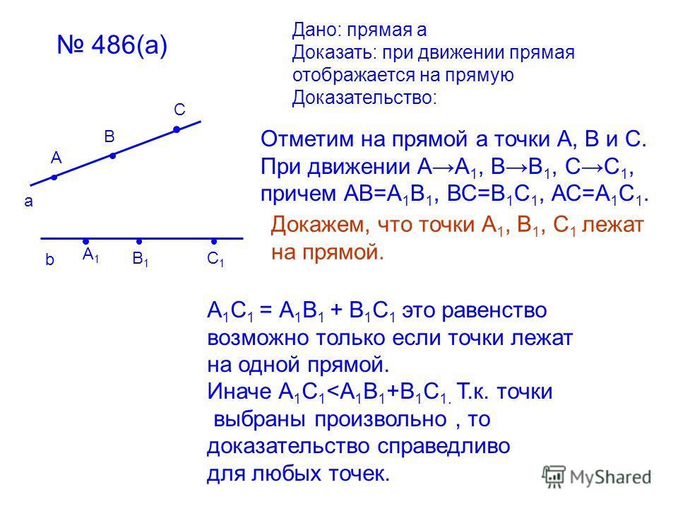486(а) а А В С Дано: прямая а Доказать: при движении прямая отображается на прямую Доказательство: b А1А1 В1В1 С1С1 Отметим на прямой а точки А, В и С. При движении АА 1, ВВ 1, СС 1, причем АВ=А 1 В 1, ВС=В 1 С 1, АС=А 1 С 1. Докажем, что точки А 1,