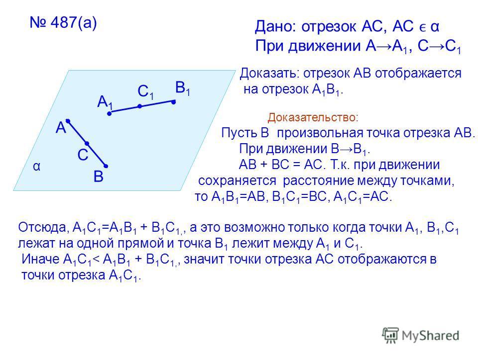 487(а) α А В С А1А1 В1В1 С1С1 Дано: отрезок АС, АС α При движении АА 1, СС 1 Доказать: отрезок АВ отображается на отрезок А 1 В 1. Доказательство: Пусть В произвольная точка отрезка АВ. При движении ВВ 1. АВ + ВС = АС. Т.к. при движении сохраняется р