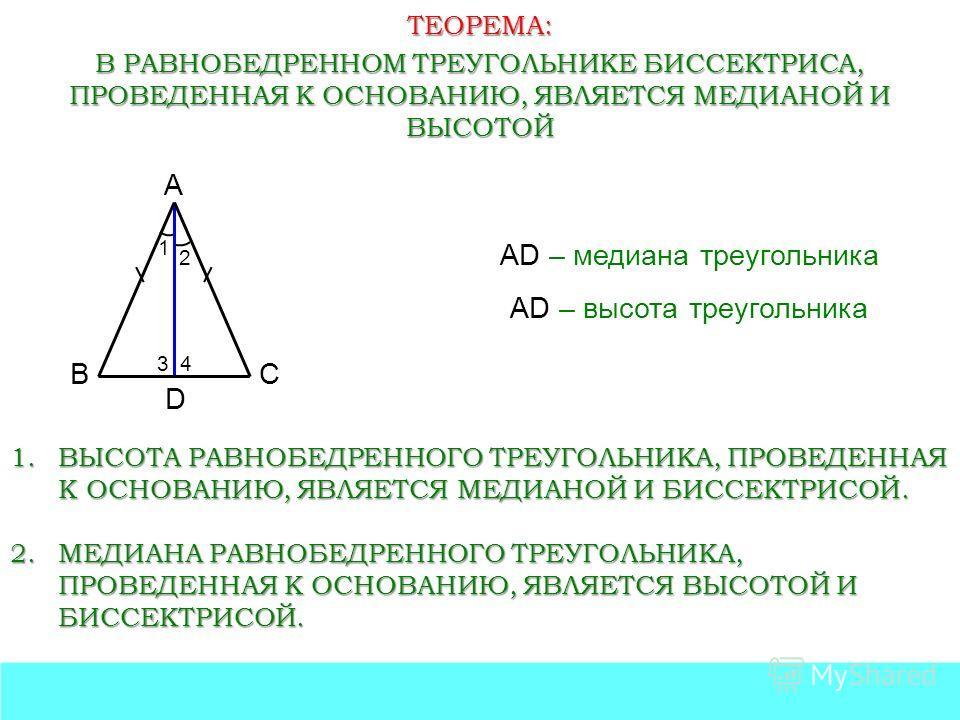 ТЕОРЕМА: В РАВНОБЕДРЕННОМ ТРЕУГОЛЬНИКЕ БИССЕКТРИСА, ПРОВЕДЕННАЯ К ОСНОВАНИЮ, ЯВЛЯЕТСЯ МЕДИАНОЙ И ВЫСОТОЙ А ВС 1 2 D AD – медиана треугольника 34 AD – высота треугольника 1.ВЫСОТА РАВНОБЕДРЕННОГО ТРЕУГОЛЬНИКА, ПРОВЕДЕННАЯ К ОСНОВАНИЮ, ЯВЛЯЕТСЯ МЕДИАНО