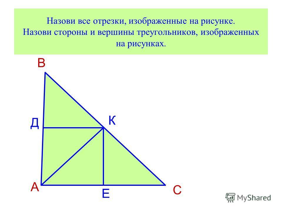 Назови все отрезки, изображенные на рисунке. Назови стороны и вершины треугольников, изображенных на рисунках. А В С Д К Е
