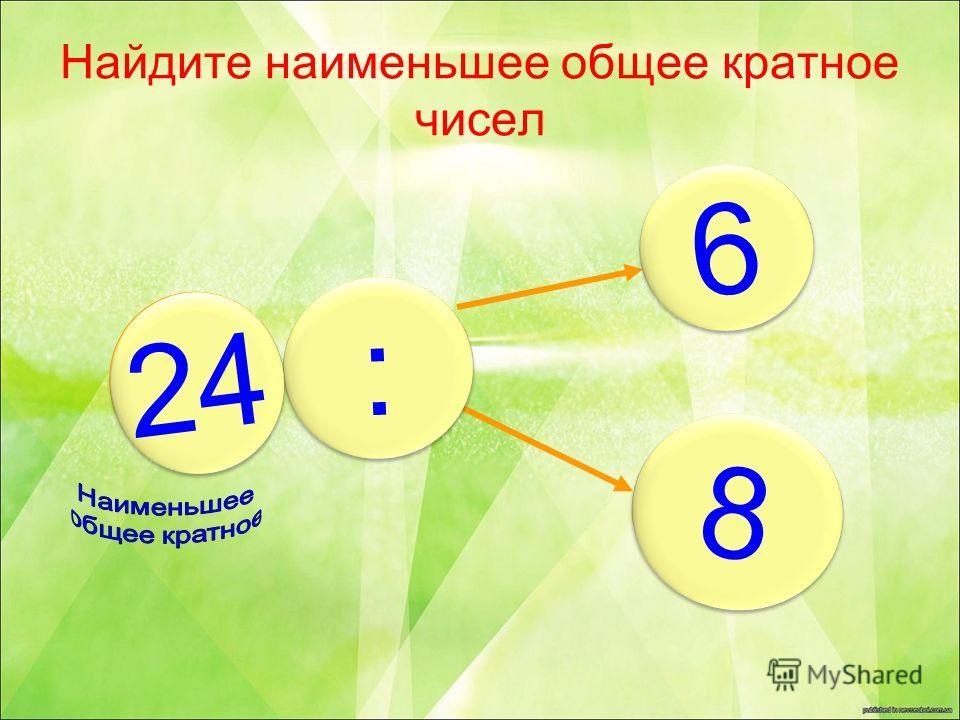Найдите наименьшее общее кратное чисел 6 6 8 8 : : ? 24