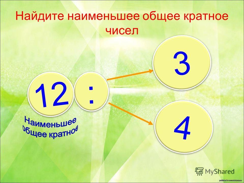 Найдите наименьшее общее кратное чисел 3 3 4 4 : : ? 12