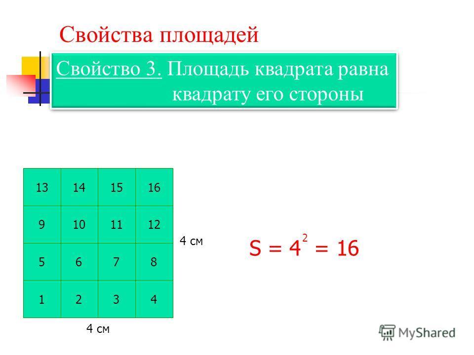 Свойства площадей Свойство 3. Площадь квадрата равна квадрату его стороны Свойство 3. Площадь квадрата равна квадрату его стороны S = 4 = 16 2 1234 5678 9101112 13141516 4 см