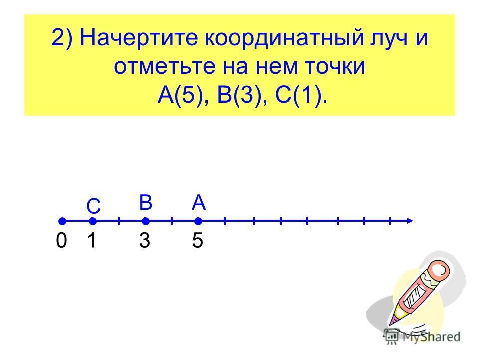 2) Начертите координатный луч и отметьте на нем точки А(5), В(3), С(1). 01 С 3 В 5 А