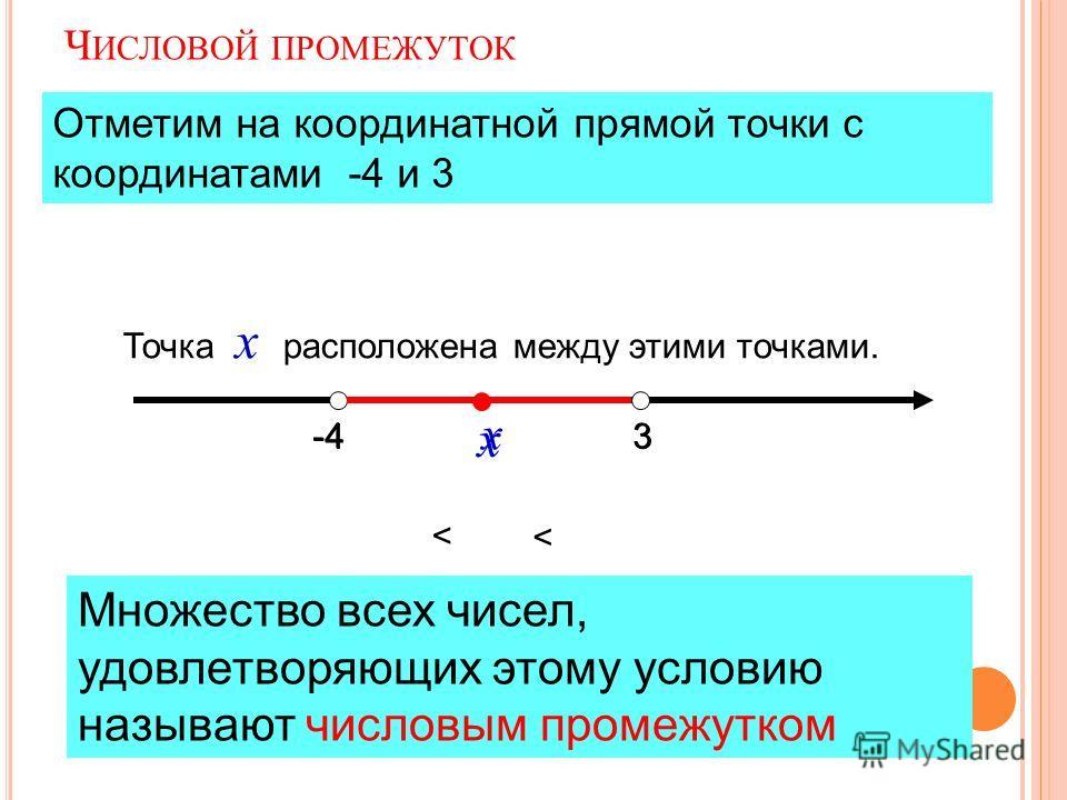 Ч ИСЛОВОЙ ПРОМЕЖУТОК -43 х 3 х < < Отметим на координатной прямой точки с координатами -4 и 3 Точка х расположена между этими точками. Множество всех чисел, удовлетворяющих этому условию называют числовым промежутком