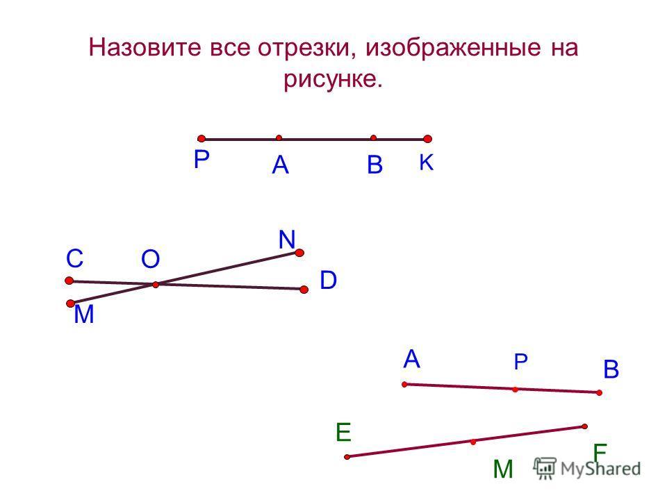 АВ Назовите все отрезки, изображенные на рисунке. P K С O M N D А В E F М Р